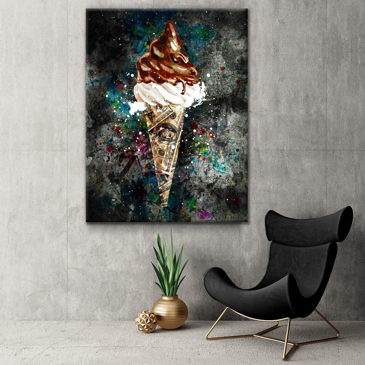 Wandbild für Büro & Home-Office ICE CREAM X MONEY von DotComCanvas