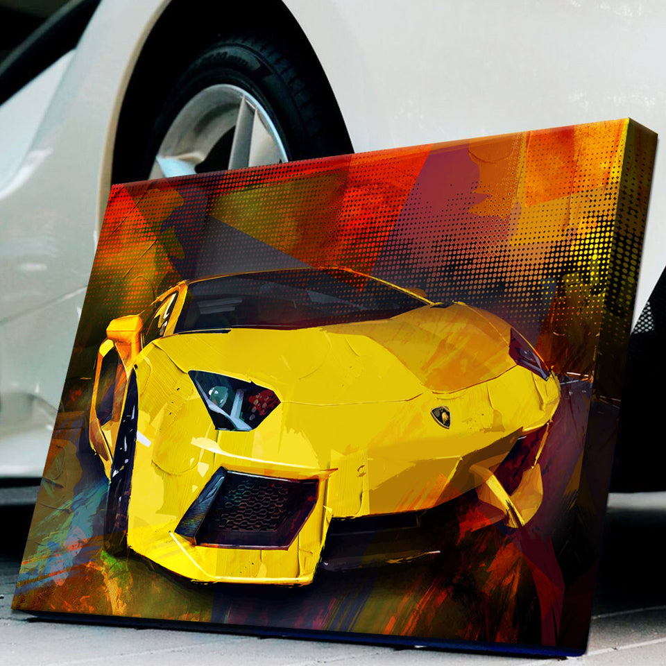 Wandbild für Büro & Home-Office COLORFUL LAMBO von DotComCanvas