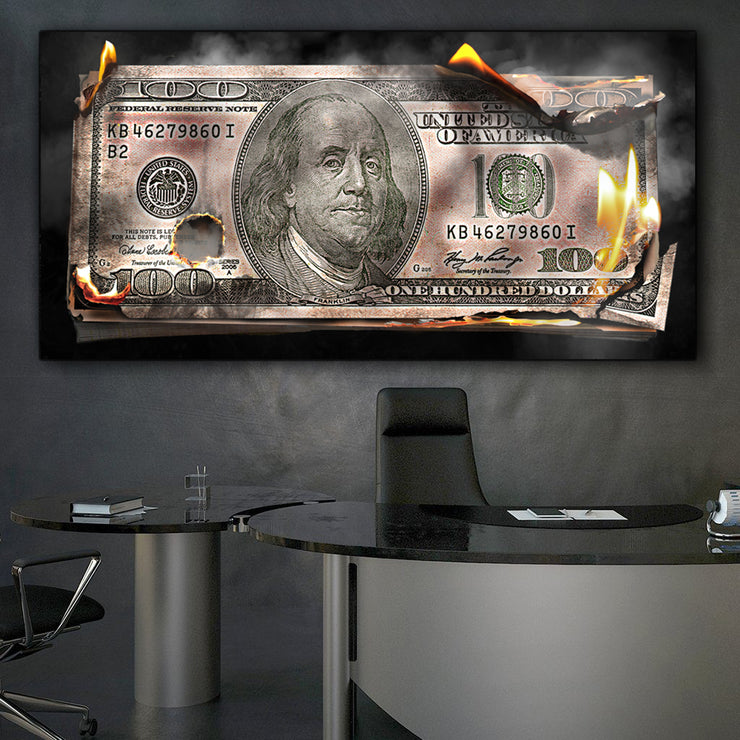 Wandbild für Büro & Home-Office BURNING 100 DOLLAR BILL von DotComCanvas