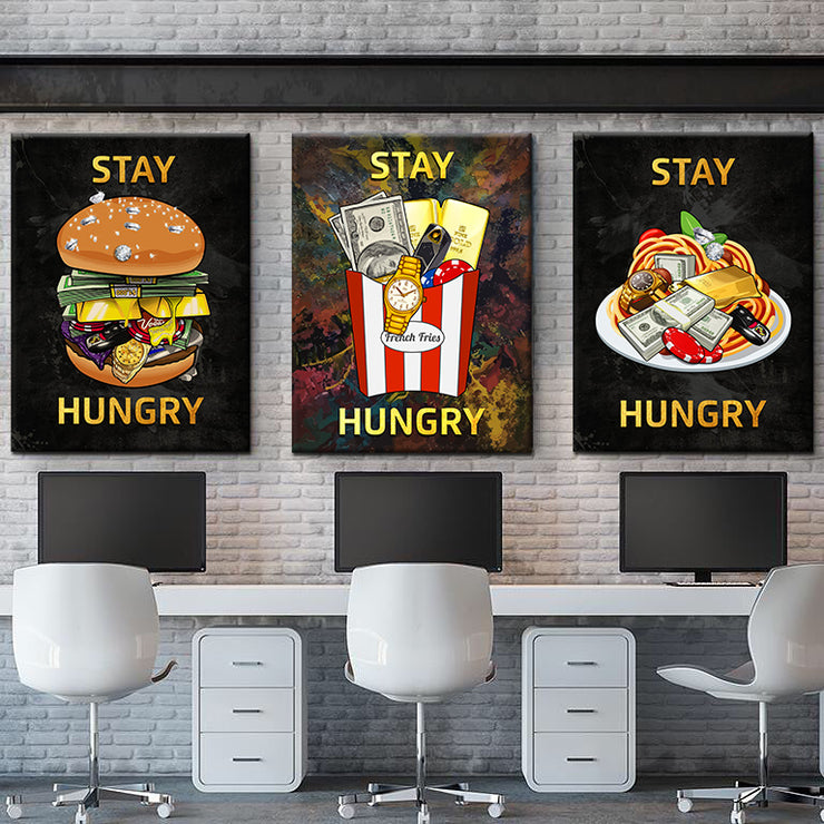 Wandbild Bundle für Büro & Home-Office STAY HUNGRY BUNDLE von DotComCanvas