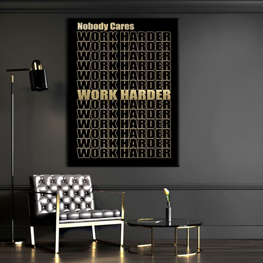Wandbild für Büro & Home-Office WORK HARDER GOLD von DotComCanvas