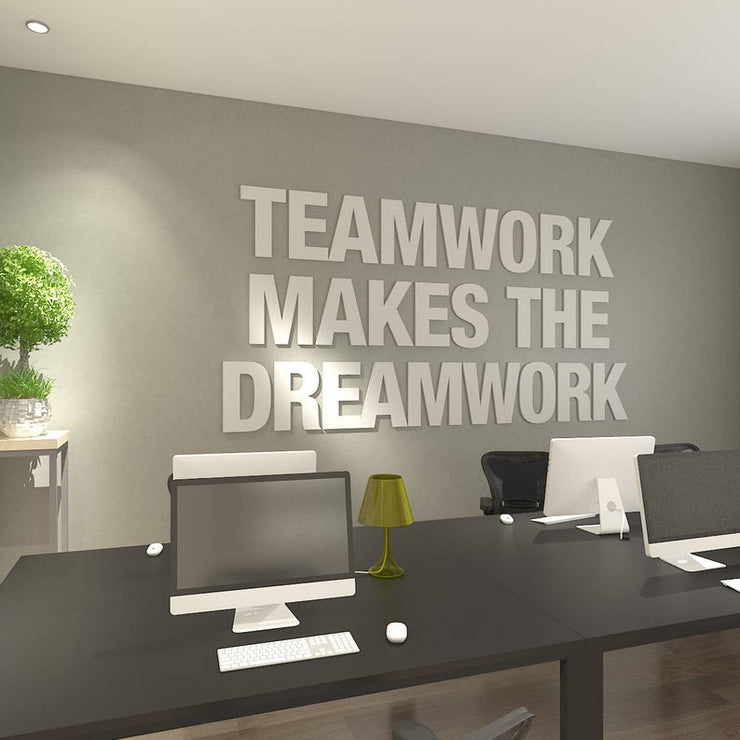 Wandzitat für Büro & Home-Office TEAMWORK MAKES THE DREAMWORK von DotComCanvas