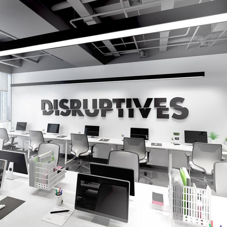 Wandzitat für Büro & Home-Office DISRUPTIVES von DotComCanvas
