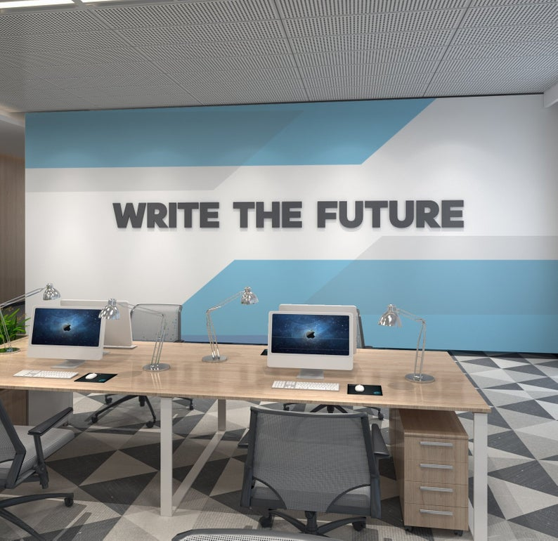 Wandzitat für Büro & Home-Office WRITE THE FUTURE von DotComCanvas