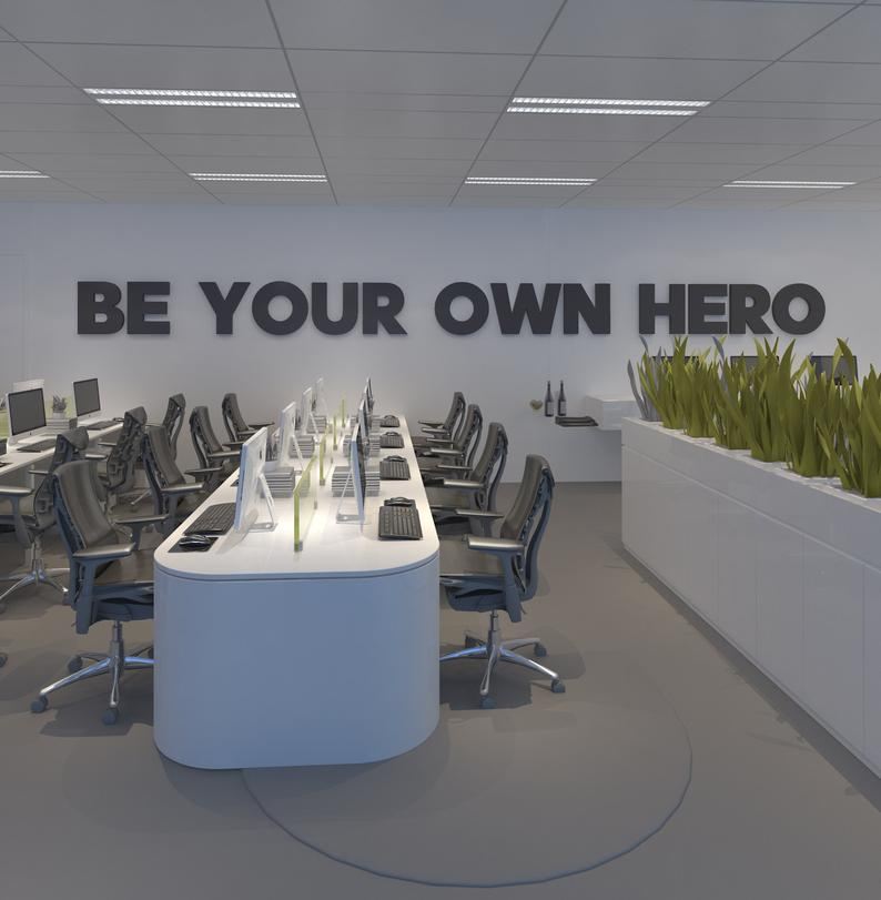 Wandzitat für Büro & Home-Office BE YOUR OWN HERO Motivationszitat als Wandeko fuers Buero von DotComCanvas