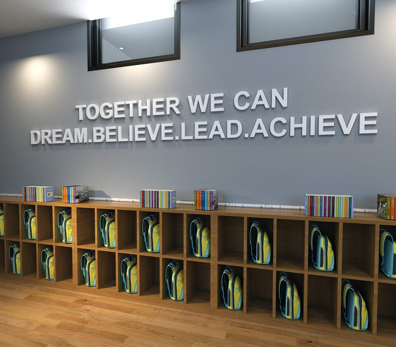 Wandzitat für Büro & Home-Office TOGETHER WE CAN DREAM.BELIEVE.LEAD.ACHIEVE von DotComCanvas