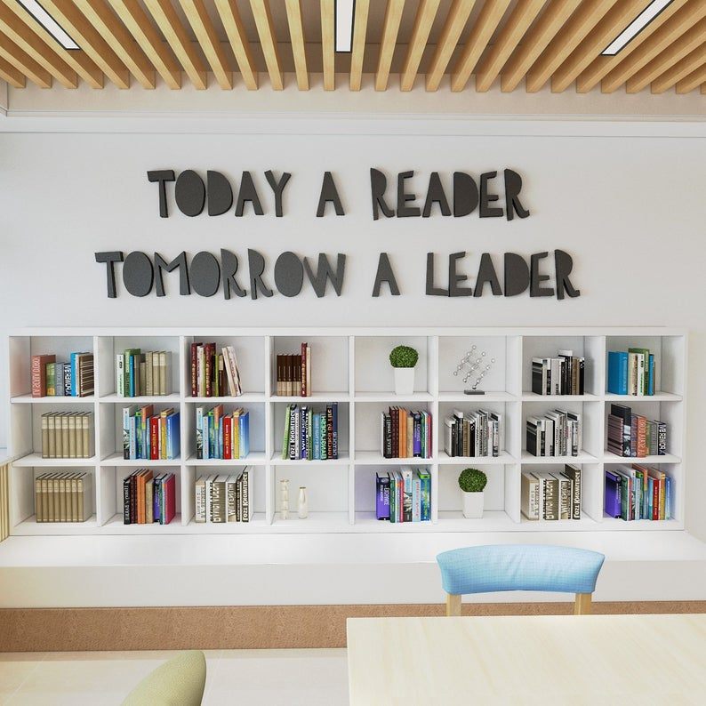 Wandzitat für Büro & Home-Office TODAY A READER TOMORROW A LEADER von DotComCanvas