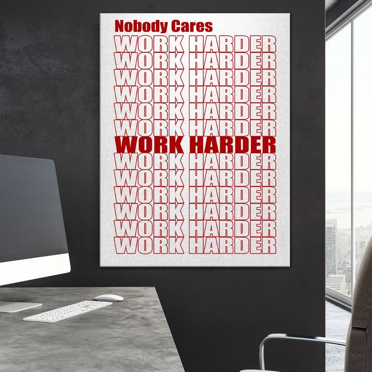 Wandbild für Büro & Home-Office WORK HARDER RED von DotComCanvas