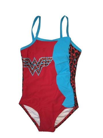 LC Boutique Toddler Girls One Piece Wonder Woman Swimsuit with Animal Print Ruffles in Sizes 2T to 4T