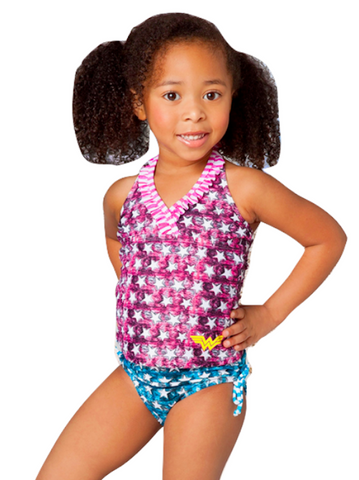 Wonder Woman Swimsuit 2 Piece Tankini in Sizes from 2T to 8