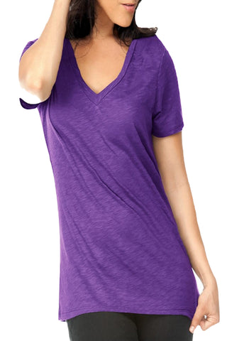 L C Boutique Womens Slub Jersey Cotton Blend V Neck Short Sleeve T Shirt in sizes Small to 2XL