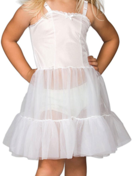 L C Boutique L C Boutique Girls Full Slip Adjustable Straps Petticoat Crinoline 2T-14 Ruffles Layer Knee Length