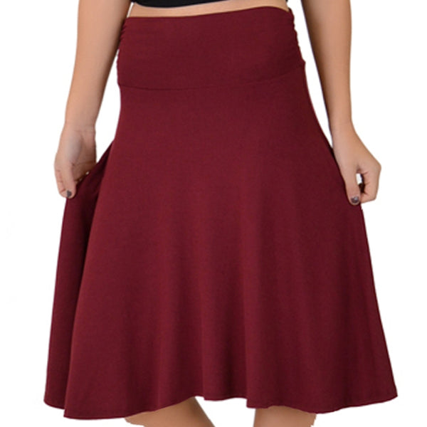 L C Boutique Flowy Knee Length Jersey Modal Skirt