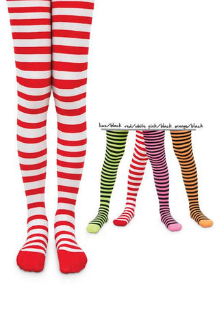 L C Boutique Girls Striped Tights in size to fit ages 2 to 13