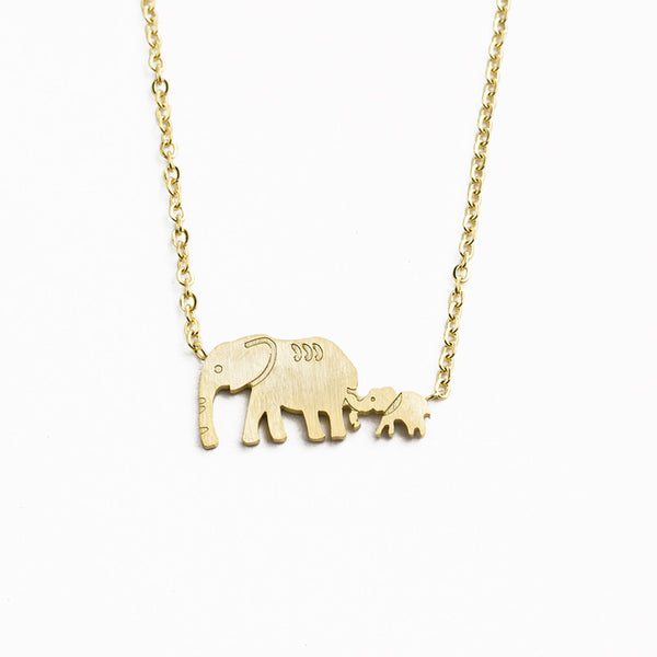 Mama and Baby Elephant necklace