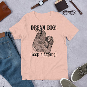 Dream BIG! Keep Sleeping! Sloth t-shirt
