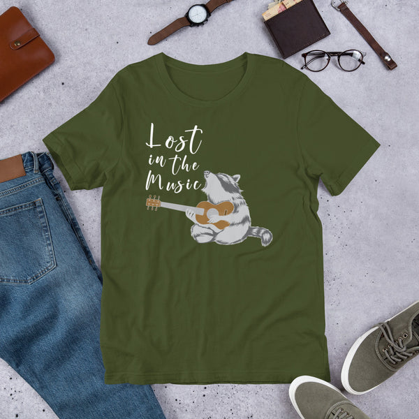 Lost in the Music Raccoon t-shirt