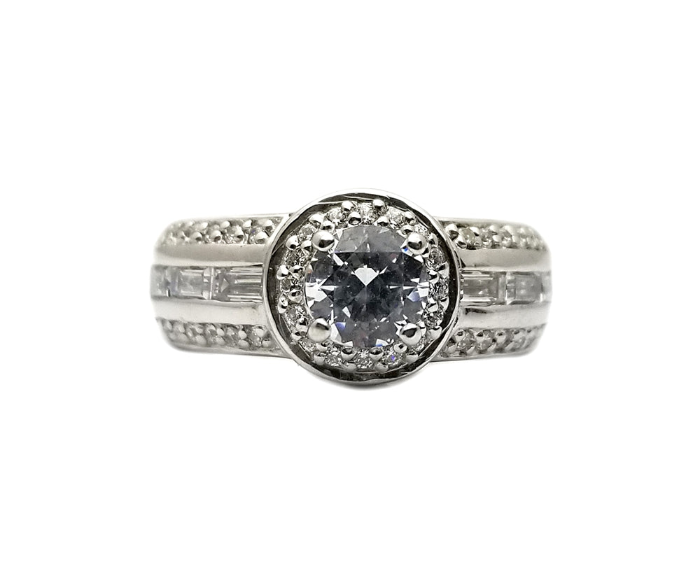 Sterling Silver Fashion Rings Cubic Zirconia Wedding Ring