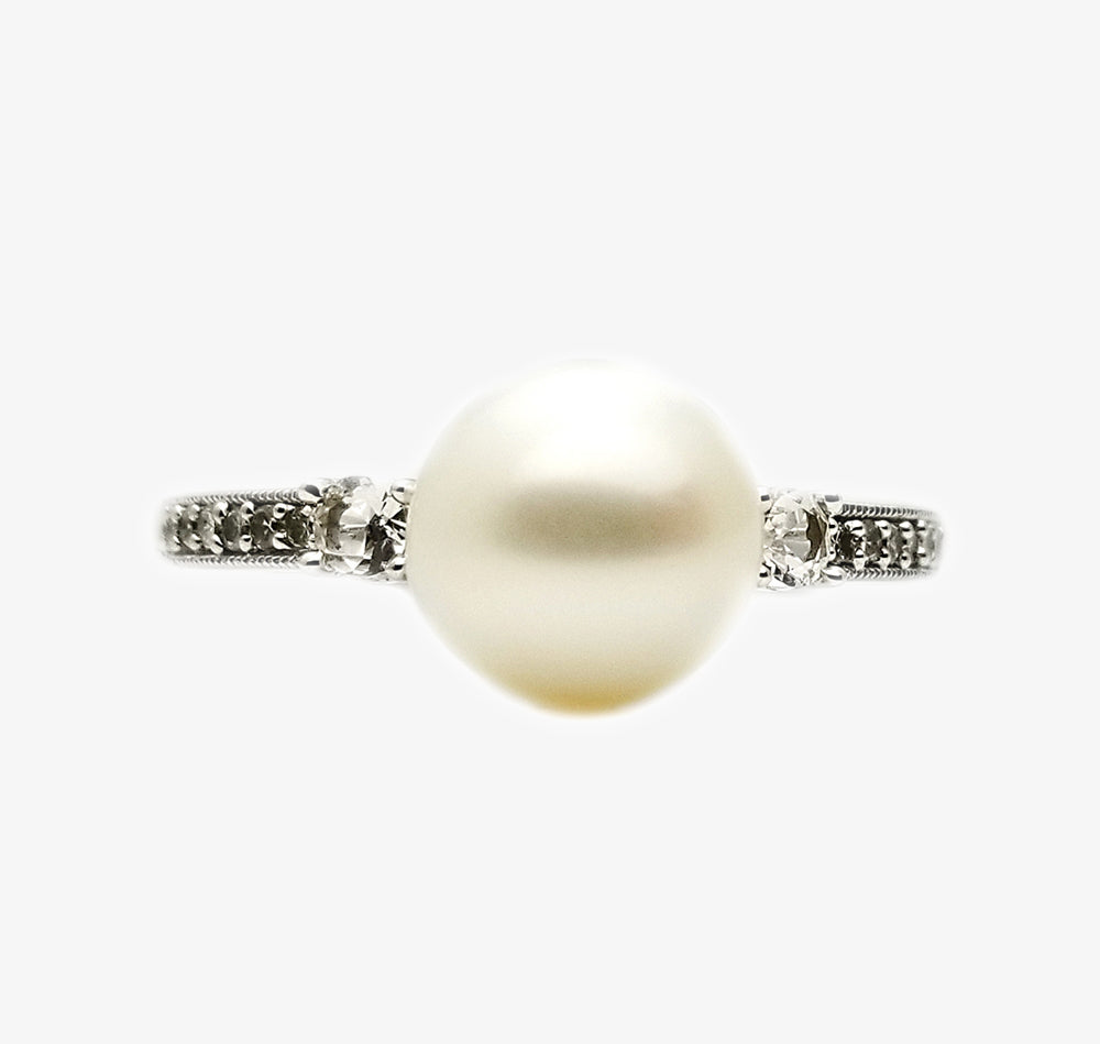 10k Pearl .07 White Sapphire Ring