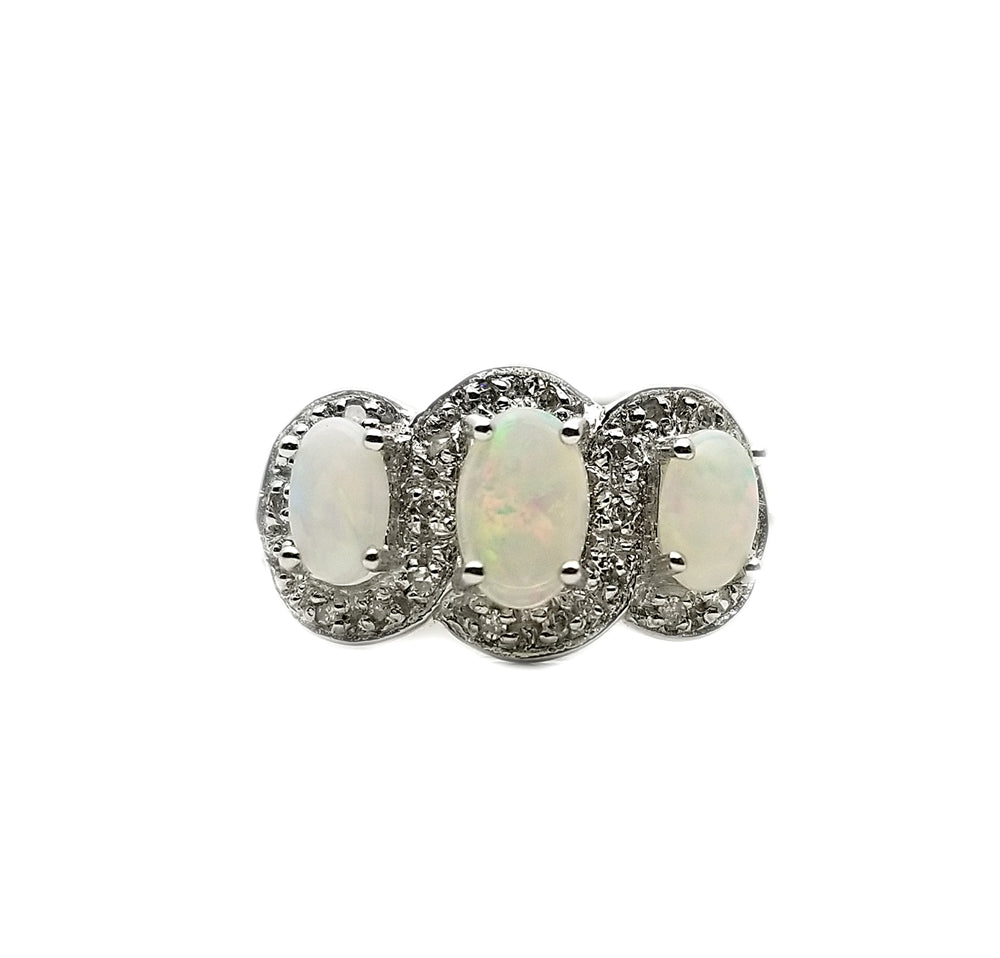 10kt .075ctw Diamond Opal Ring