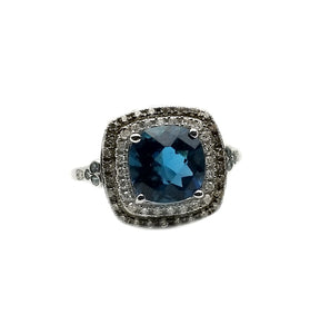 10k .25ctw Diamond & 2.25ct London Blue Topaz Ring