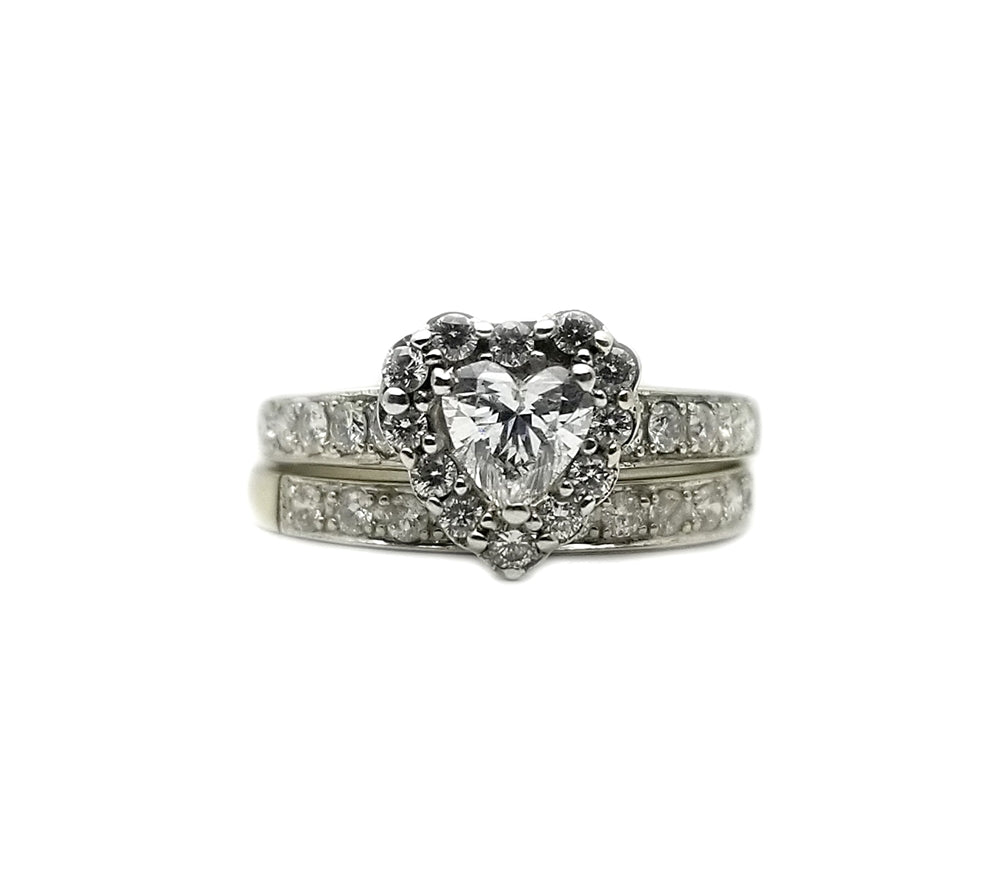 14k 1.1ctw Diamond Heart Wedding Set