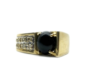 14k .09ctw Diamond & Onyx Ring