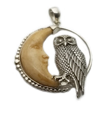Sterling Silver Owl Staring At Bone Moon Pendant