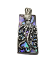 Sterling Silver Octopus on a Mother Of Pearl Background Pendant
