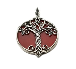 Sterling Silver Celtic Tree of Life with Red Coral Background