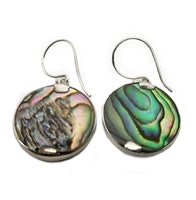 Sterling Silver Mermaid Earrings With Blue Abalone Background