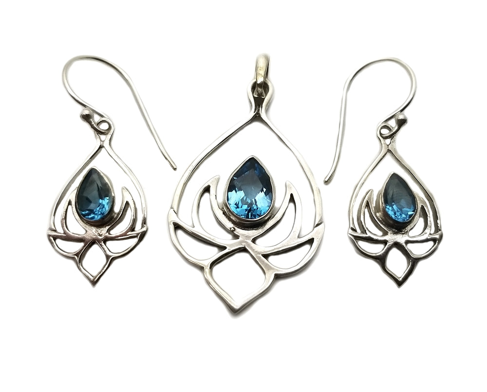 Lotus Flower Earrings and Pendant