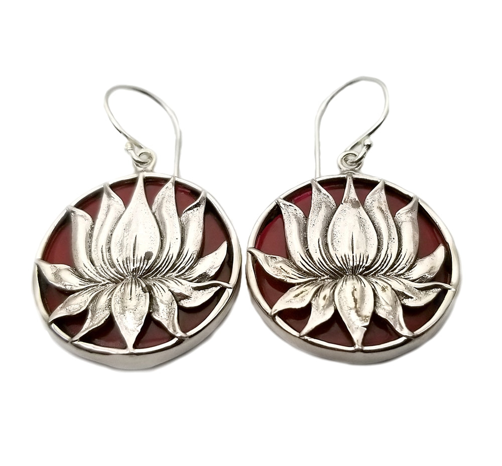 Sterling Silver Lotus Flower With Red Coral Background Earrings