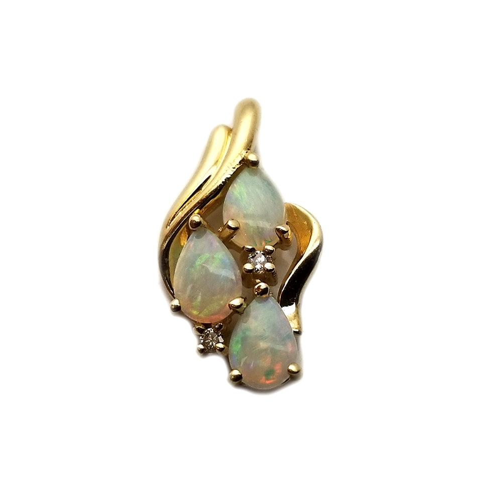 14k Opal .03 Diamond Pendant