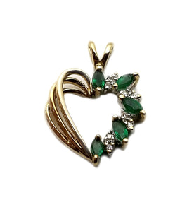 14ky .05d Diamond Emerald Heart Pendant