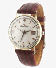 Lucien Piccard 14k Gold Watch w/ Leather Band