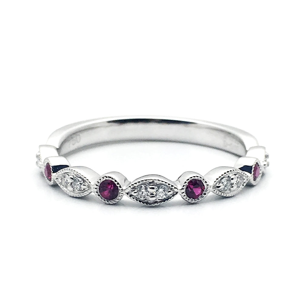 18k .07 Diamonds, .12 Ruby Band