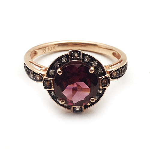 10KT Rose Gold 2.5CT Rhondolite 0.05CT Diamond Ring