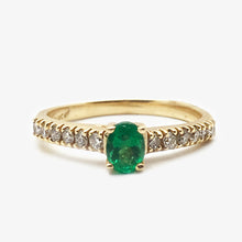 14KY,  0.26 ctw Diamonds, 0.32ct Emerald Ring