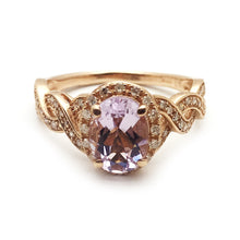10KT Rose Gold 0.9ct Amethyst 0.25CT Diamond Ring