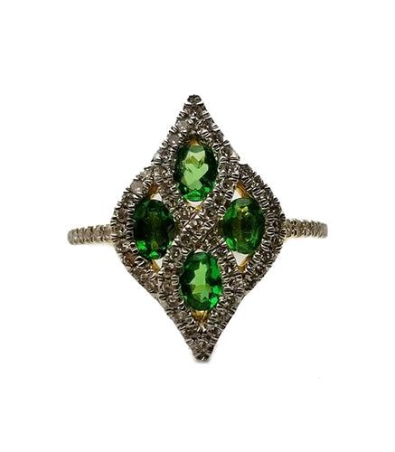 14k .24 Diamond, .68 Tsavorite Fashion Ring