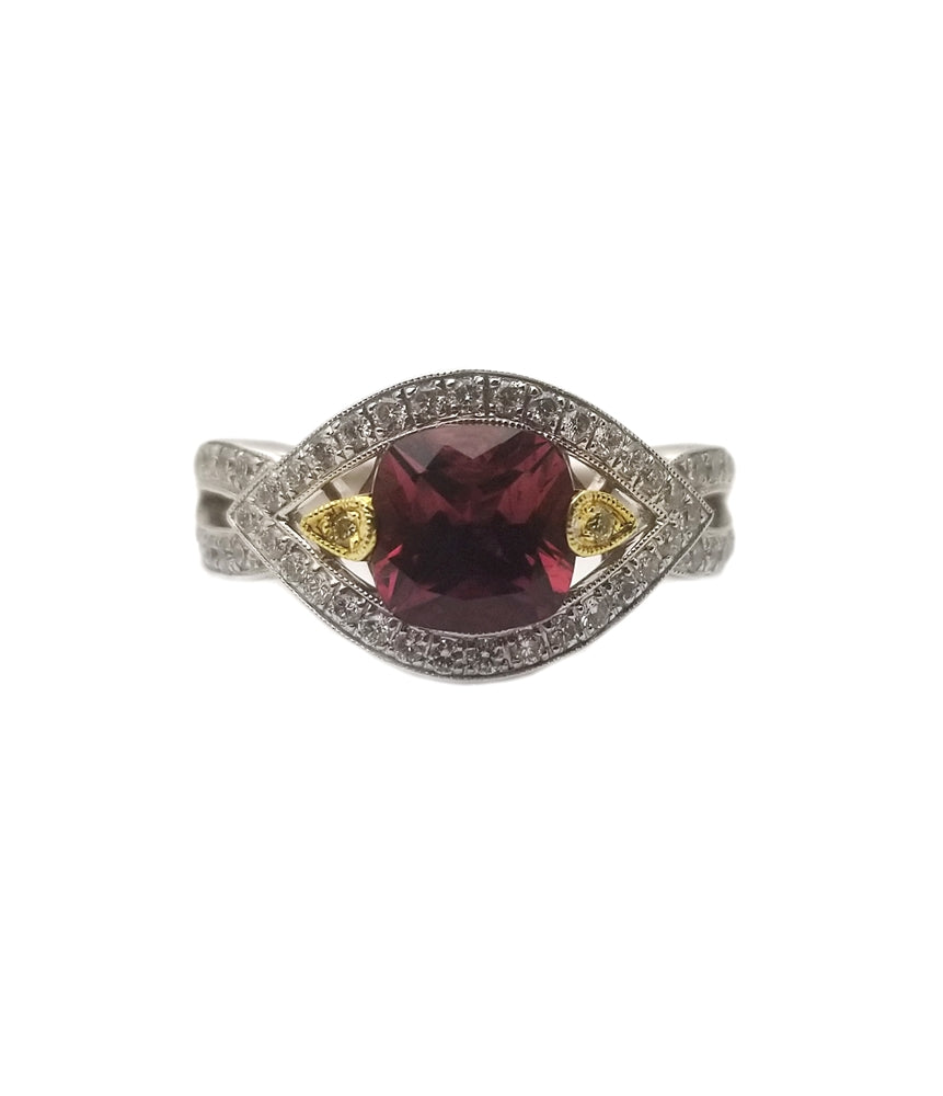 18kw 1.81 Pink Tourmaline, .51 Diamond Fashion Ring
