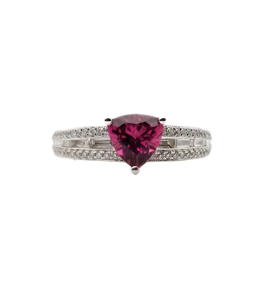 18kw .66 Pink Tourmaline, 40ctw Diamond Fashion Ring