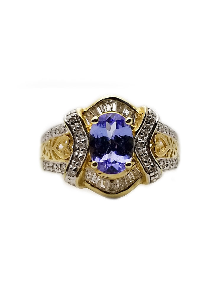 14k: 1ct Tanzanite, .33ctw Diamond Fashion Ring