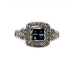14k .21 Diamond, .20 Sapphire, Fashion Ring