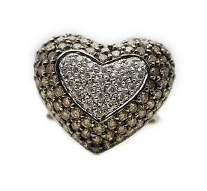 18kw 2.16ctw Chocolate Diamond Heart Ring