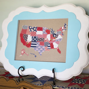 USA Small Linen Map PDF Pattern