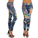 Elastic Ankle-length Slim Punk Style Faux Denim Pencil Pants Sexy Women Leggings Butterfly Flower Printed Imitation Jeans - VRAIDJO