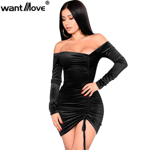 Wantmove women velvet sexy party off shoulder dress
