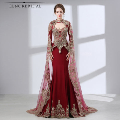 Burgundy Arabic Mermaid Evening Dresses 2018 Robe De Soiree Long Sleeve Formal Gown Women Party Prom Dress Real Photo - VRAIDJO
